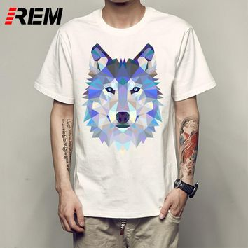 REM Summer Custom Lion/Owl/Wolf/Tiger/Cat Design T Shirt Men's Watercolor Animal Graphics Printed Tops Hipster Tees P53168