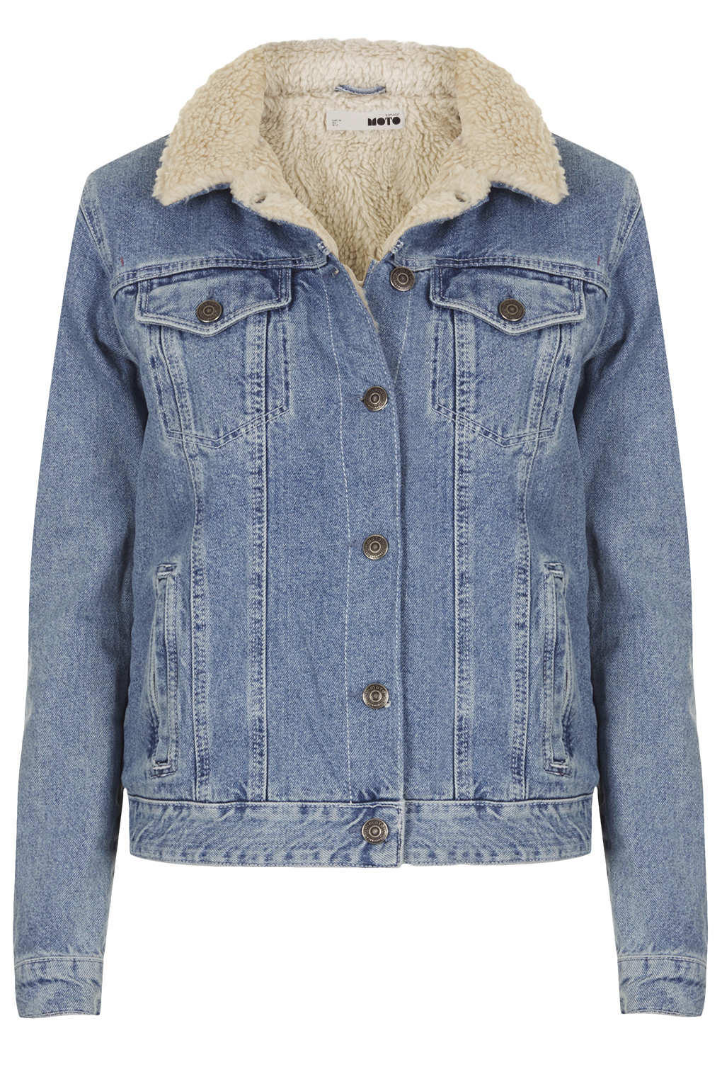 Moto vintage borg denim jacket jackets from topshop for Womens denim shirts topshop