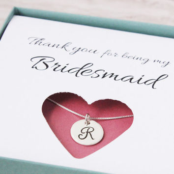 Bridesmaid thank you gift box sterling silver necklace Thank you for being my bridesmaid jewelry wedding party gift card