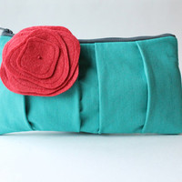 Pleated Clutch Purse, Aqua Red Flower, Zippered Pouch, Bridesmaid Clutch, Wedding Bag