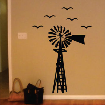 Windmill with Birds Design Animal Decal Sticker Wall Vinyl Decor Art