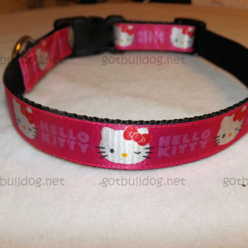 "Wide 1"" Nylon and Ribbon Dog Hello Kitty Dog Collar Large 16"" - 23"""