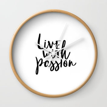 Printable Art, Inspirational Print, Live with Passion, Typography Quote, Motivational Wall Clock by NikolaJovanovic