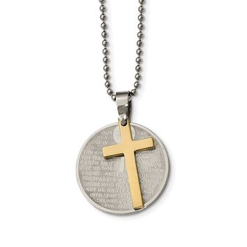 Stainless Steel Brushed/Polished Yellow IP Lords Prayer Cross Necklace 20in