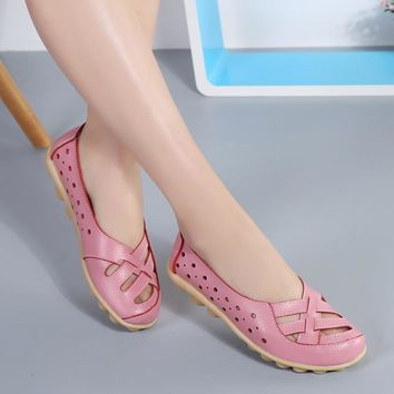 Ballet Flats 2018 Women Genuine Leather Shoes Women Soft Bottom Hollow out Shoes Slip on Breathable Women Shoes Flats