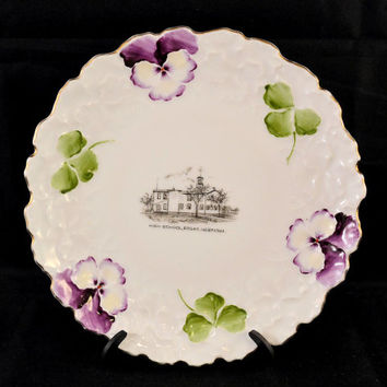 Edgar Nebraska Souvenir Plate, Antique Wheelock China Plate, Pansy Plate, Clovers, Store Advertising, High School, Van Antwerp Westerling