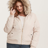 Faux Fur Trimmed Quilted Bomber Jacket