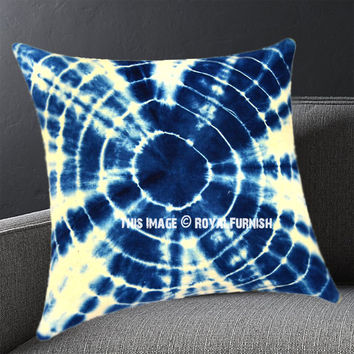 Decorative Blue Attraction Medallion Shibori Indigo Pillow Cover 16X16 Inch on RoyalFurnish.com