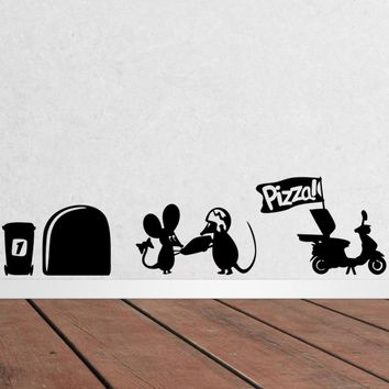 3d Funny Mouse Hole Pizza Wall Decals Stickers Rooms Decor