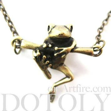 Baby Frog on a Branch Animal Charm Necklace in Bronze | Animal Jewelry