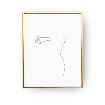 Female Forearm Print, Minimal Art, Female Poster, Female Body, Black And White, Linear Drawing, Woman Art, Sketch Art, Woman Figure Print
