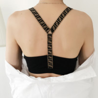Fendi fashion New stretch letter shoulder strap cross sports rimless stripe underwear bra vest top Black