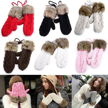 Winter Thicken Ragwool Mittens Knitted Warm Fur Halter Wrist Gloves Womens  7_S = 1913358788