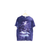 tie dye dolphin shirt / dolphins tee / lisa frank style / purple / full moon / seapunk / eco ecology / ocean sea beach / whales / nature / L