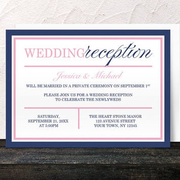 Navy Reception Only Invitations Pink - Blue Modern design with Pink - Post-Wedding Reception - Printed Invitations