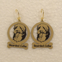 1558 Bearded Collie Head Earrings by gclasergraphics on Etsy