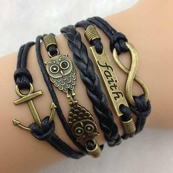 Braided Rope Bracelet Wrap Bangle Vintage Style Anchors Rudder Metal Charms Leather