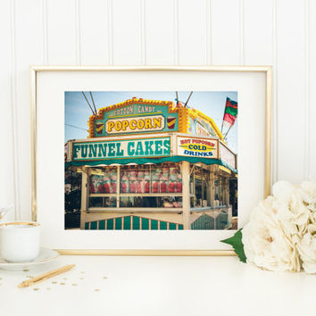 Carnival print, fine art photography, vintage style, summer fair, funnel cakes, cotton candy, popcorn, food stand, wall art home decor, 8x10