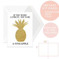Printable Greeting Card, Gold Pineapple Art, Instant Download, Wedding, Bridal Card, Birthday, Pineapple Print,Glitter, Fun,Humour, Quirky