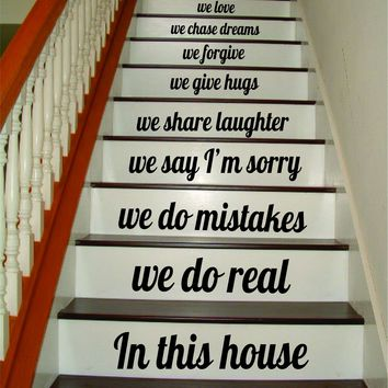 In This House Stairs v5 Quote Wall Decal Sticker Art Vinyl Family Home House Staircase Inspirational Dreams Love
