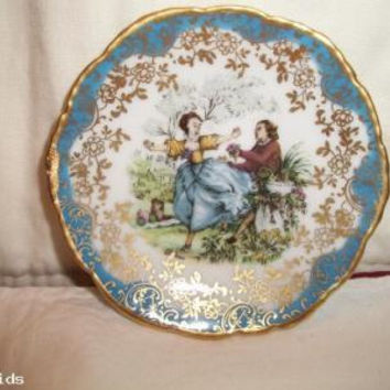 Vintage Limoges France Miniature Plate With Courting Scene Signed