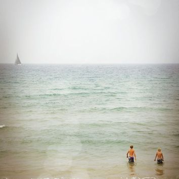 Large 20x30'' Photo / Foggy Summer Beach Day / Minimal Art Photograph For Your Home Walls / Bedroom / Living Room
