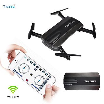 Teeggi JXD523 Foldable Tracker Drone with Camera HD Wifi FPV Remote Control Altitude Hold Headless Selfie RC Dron VS JJRC H47