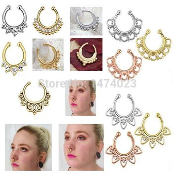Non-Piercing Crescent Swirls SEPTUM Nose Clip-On Hanger RINGS Studs Body Jewelry