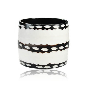 Vintage Mod Statement Bracelet Wide Carved Geometric Print Black White Lucite Bangle Bracelet 1960s Costume Jewelry