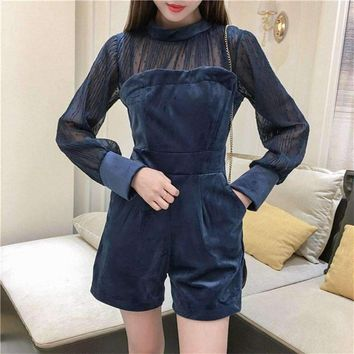 2018 Spring Fashion Blue Zipper Perspective Pleated Chiffon Sexy Romper Women Velvet Chiffon Patchwork Playsuit