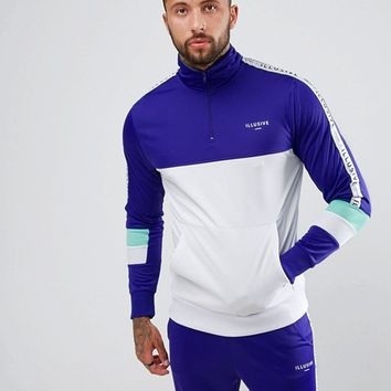 Illusive London Muscle Track Jacket In Purple With Half Zip at asos.com