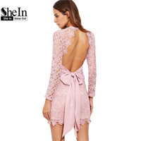SheIn Womens Sexy Dresses Party Night Club Dress Pink Deep V Neck Bow Tie Open Back Embroidered Lace Bodycon Dress