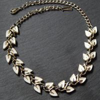 Vintage 1950s Cream Leaf Garland Necklace in Enamel and Silver
