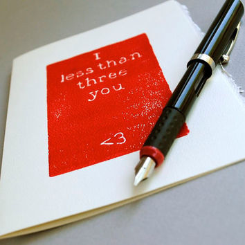 Math Geek Greeting Card I Less Than Three You Red by CursiveArts