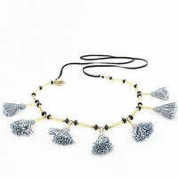 Silver Grey Tassel Necklace on Leather
