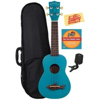 Makala MK-SS-BLU Shark Bridge Soprano Ukulele with Vintage Satin Finish Bundle with Polyfoam Case, Tuner, Instructional DVD, and Polishing Cloth - Mako Blue