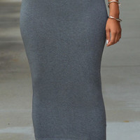Grey High Waist Bodycon Maxi Skirt