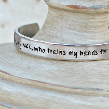 Blessed is the Lord, my rock, who trains my hands, and my fingers for war- Prayer Warrior Bracelet - Psalm 144.1 -