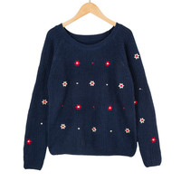 Dark Blue Flower Embroidered Long Sleeves Knitted Pullover Sweater