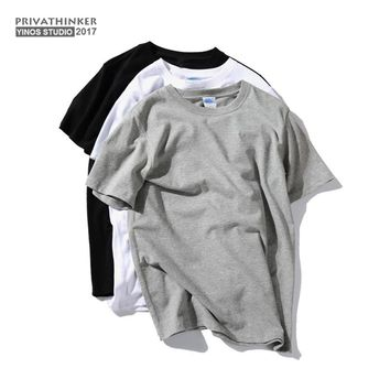Privathinker Cotton T-shirts Men White Basic T shirt Men Classical tshirt Singlet Undershirt Male Women GymClothing 2017