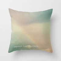 Somewhere Over The Rainbow Throw Pillow by Ally Coxon