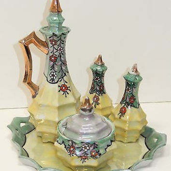 Art Deco Lustre Porcelain Sugar Creamer Salt Pepper Tray Set Japan