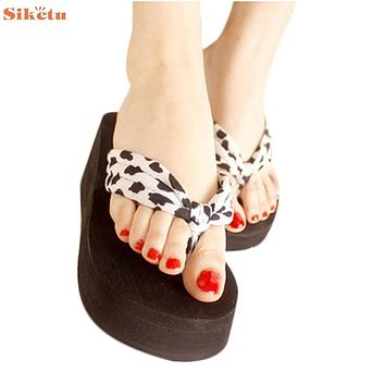 High quality Leopard Sandal Platform Wedges Flip Flops Home Slippers Shoes women