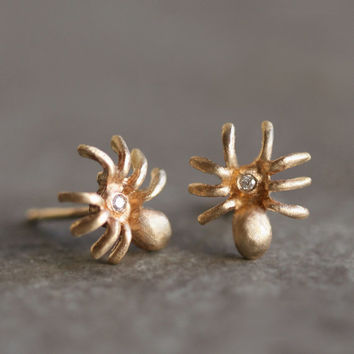 Tiny Spider Earrings in 14k Gold with Gemstones