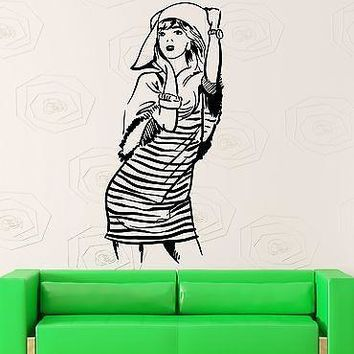Wall Stickers Vinyl Decal Beautiful Girl Woman Style Dress Hat Unique Gift (ig1825)