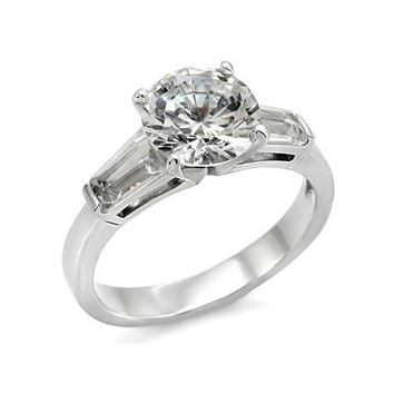Aphrodite - Beautiful Looking Stainless Steel Comfort Fit Wedding Band with Cubic Zirconia