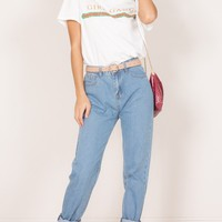 Angelina mum jeans in mid wash denim Produced By SHOWPO