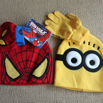 2pcs set Hot Sale Children's Winter Cartoon Minions Glove Hat Sets Fashion Kids Baby Warm Knitted Caps Spiderman hat gloves