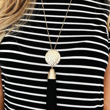 Tassel Obsession Necklace: Gold/Black