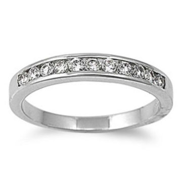 Sterling Silver Clear White CZ Wedding Band Ring size 4-11